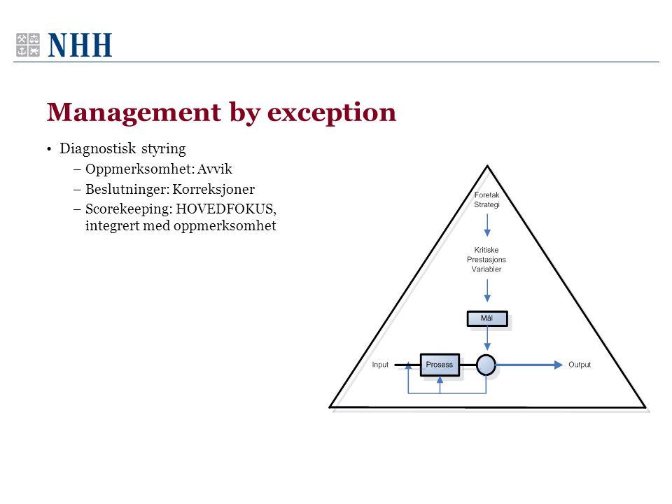 Management by exception •Diagnostisk styring –Oppmerksomhet: Avvik –Beslutninger: Korreksjoner –Scorekeeping: HOVEDFOKUS, integrert med oppmerksomhet