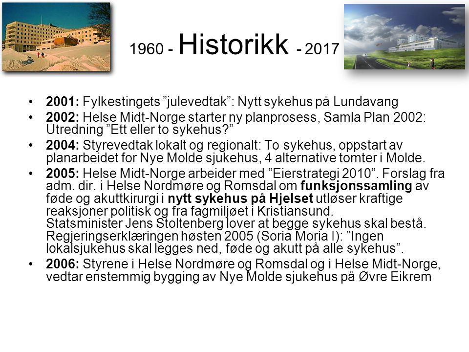 """1960 - Historikk - 2017 •2001: Fylkestingets """"julevedtak"""": Nytt sykehus på Lundavang •2002: Helse Midt-Norge starter ny planprosess, Samla Plan 2002:"""