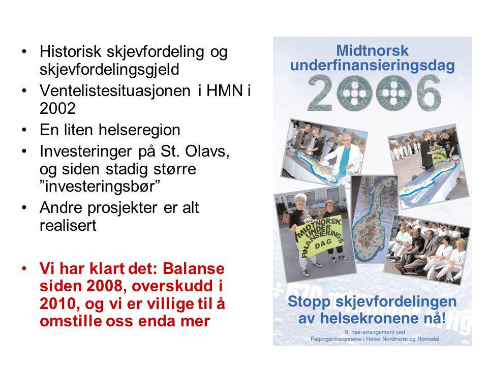 •Historisk skjevfordeling og skjevfordelingsgjeld •Ventelistesituasjonen i HMN i 2002 •En liten helseregion •Investeringer på St. Olavs, og siden stad