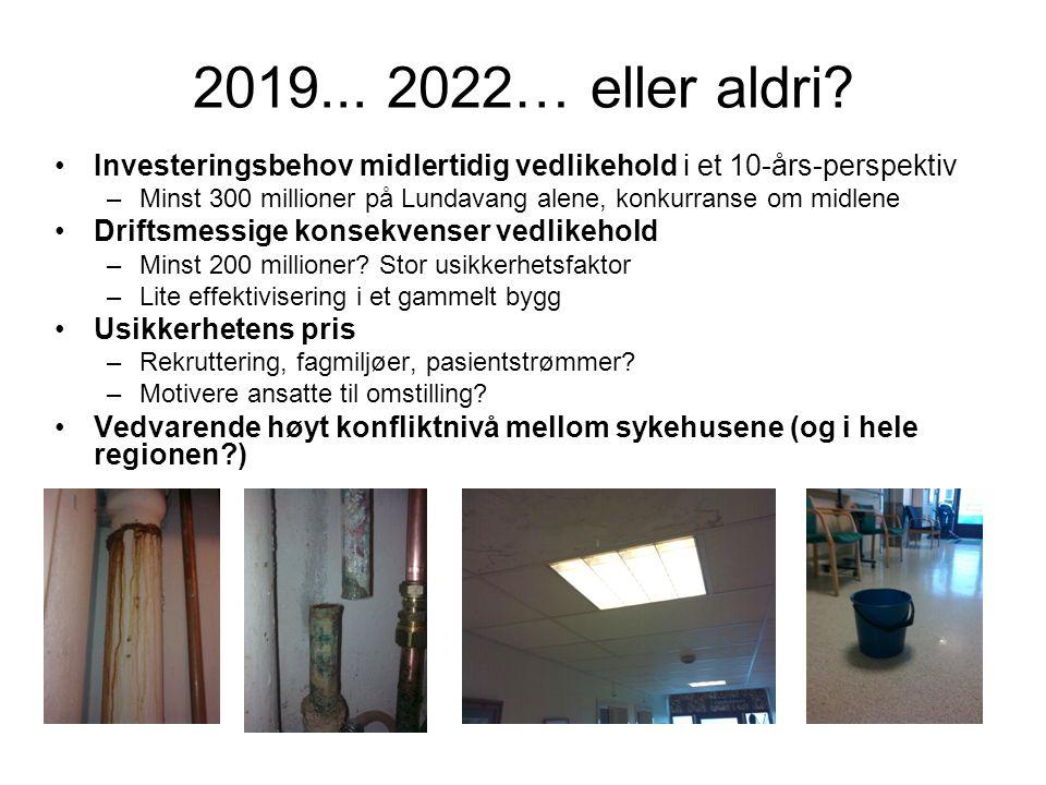 2019... 2022… eller aldri? •Investeringsbehov midlertidig vedlikehold i et 10-års-perspektiv –Minst 300 millioner på Lundavang alene, konkurranse om m