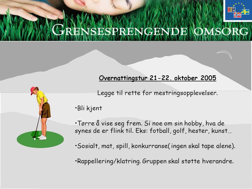Overnattingstur 21-22. oktober 2005 Legge til rette for mestringsopplevelser.