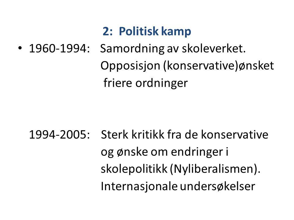2: Politisk kamp • 1960-1994: Samordning av skoleverket. Opposisjon (konservative)ønsket friere ordninger 1994-2005: Sterk kritikk fra de konservative