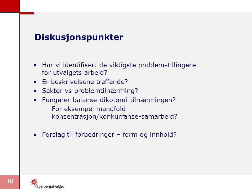 18 •Har vi identifisert de viktigste problemstillingene for utvalgets arbeid? •Er beskrivelsene treffende? •Sektor vs problemtilnærming? •Fungerer bal