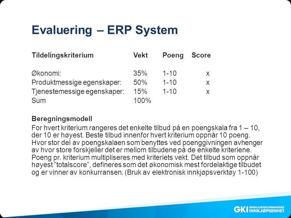 Evaluering – ERP System TildelingskriteriumVektPoengScore Økonomi:35%1-10x Produktmessige egenskaper:50%1-10x Tjenestemessige egenskaper:15%1-10x Sum100% Beregningsmodell For hvert kriterium rangeres det enkelte tilbud på en poengskala fra 1 – 10, der 10 er høyest.