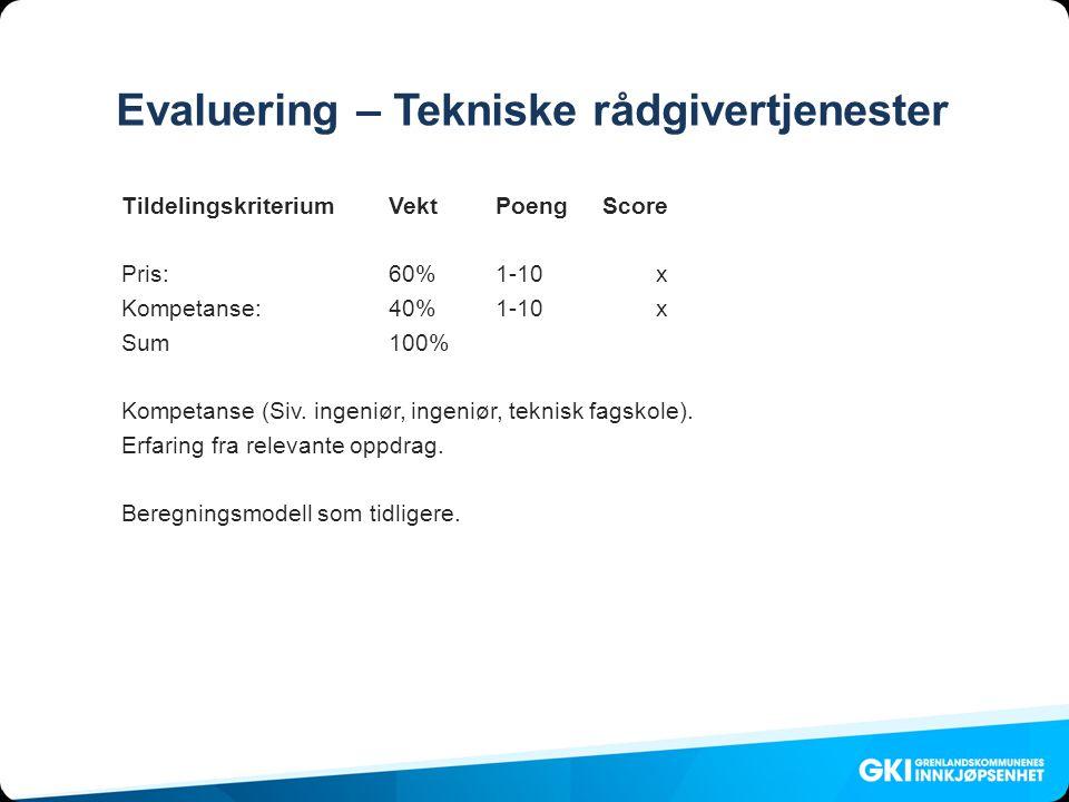 Evaluering – Tekniske rådgivertjenester Tildelingskriterium VektPoengScore Pris: 60%1-10x Kompetanse:40%1-10x Sum100% Kompetanse (Siv.