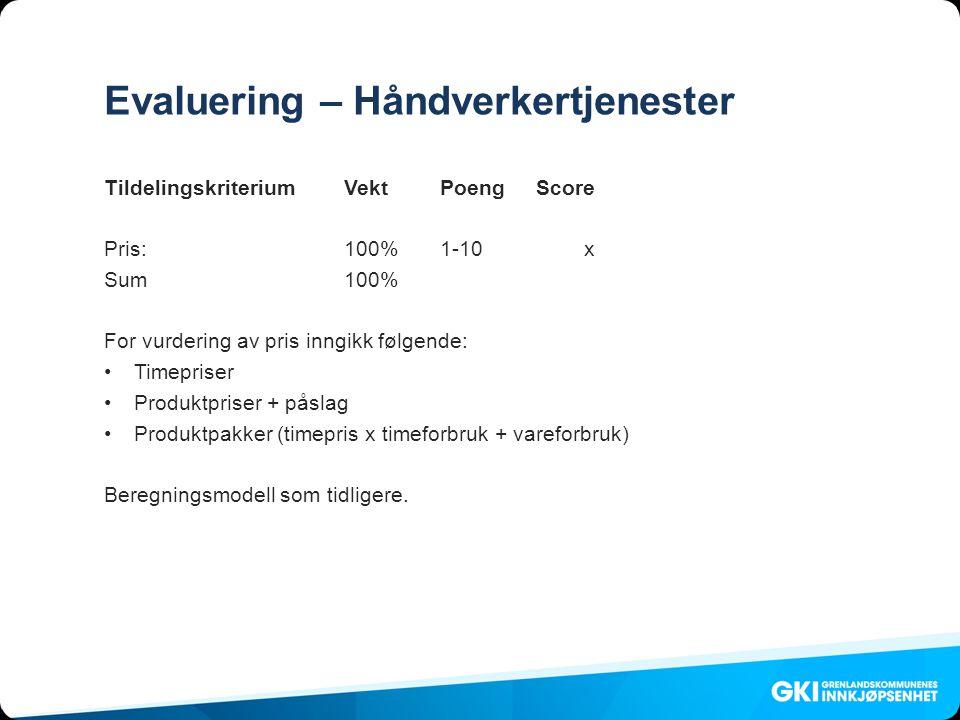 Evaluering – Håndverkertjenester Tildelingskriterium VektPoengScore Pris: 100%1-10x Sum100% For vurdering av pris inngikk følgende: •Timepriser •Produktpriser + påslag •Produktpakker (timepris x timeforbruk + vareforbruk) Beregningsmodell som tidligere.