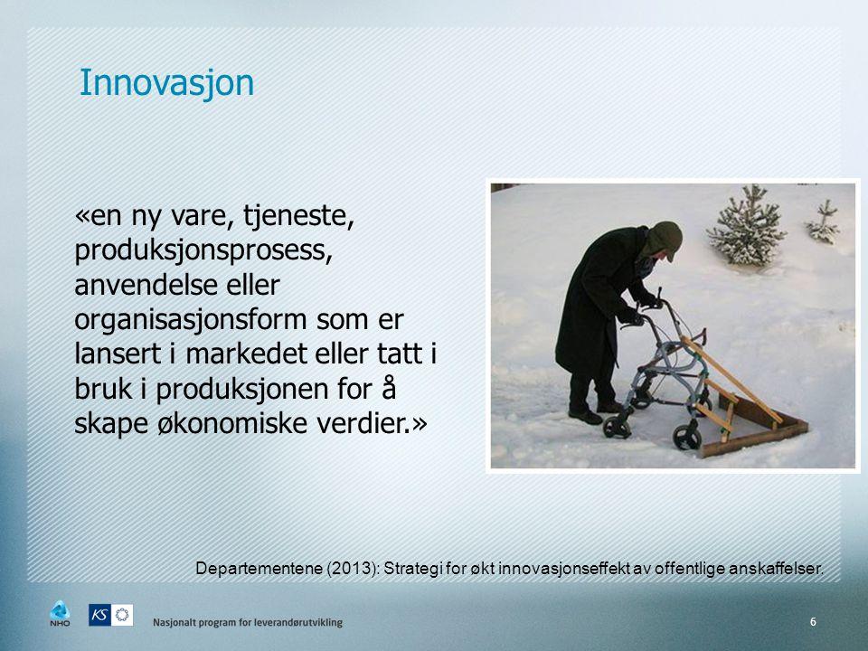 Innovasjon «en ny vare, tjeneste, produksjonsprosess, anvendelse eller organisasjonsform som er lansert i markedet eller tatt i bruk i produksjonen fo