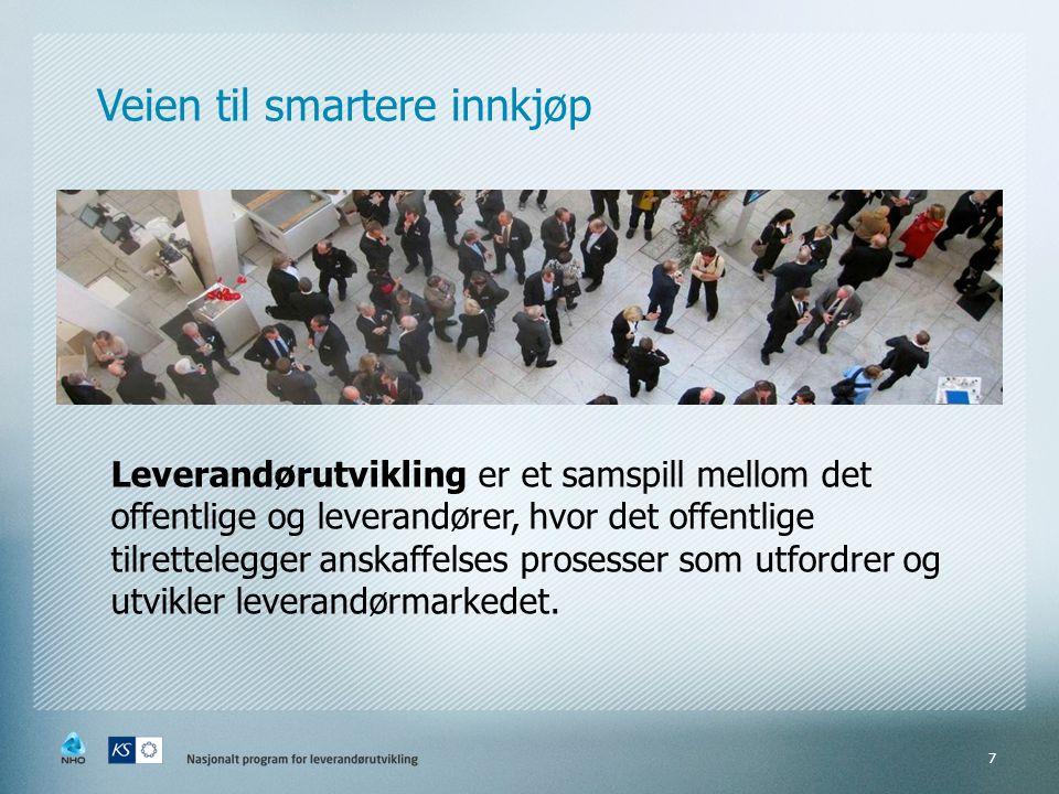 Veien til smartere innkjøp Leverandørutvikling er et samspill mellom det offentlige og leverandører, hvor det offentlige tilrettelegger anskaffelses p