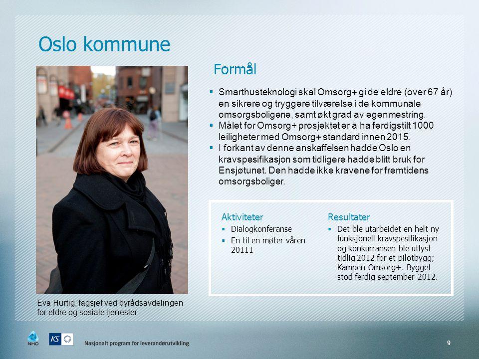 Oslo kommune 9 Eva Hurtig, fagsjef ved byrådsavdelingen for eldre og sosiale tjenester Aktiviteter  Dialogkonferanse  En til en møter våren 20111 Re