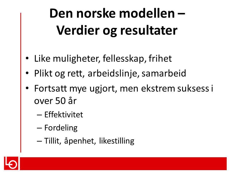 Den norske modellen – Verdier og resultater • Like muligheter, fellesskap, frihet • Plikt og rett, arbeidslinje, samarbeid • Fortsatt mye ugjort, men