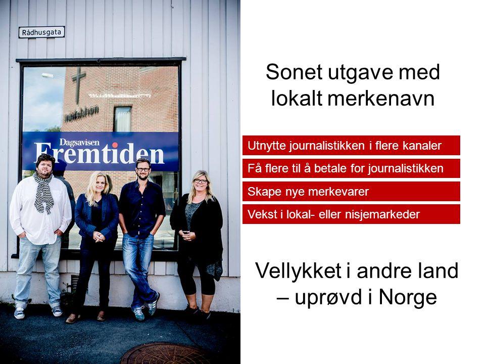 Utnytte journalistikken i flere kanaler Få flere til å betale for journalistikken Skape nye merkevarer Vekst i lokal- eller nisjemarkeder Sonet utgave med lokalt merkenavn Vellykket i andre land – uprøvd i Norge