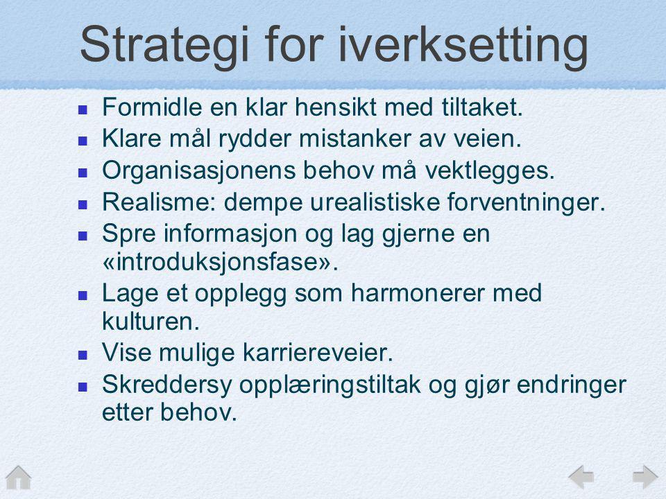 Strategi for iverksetting  Formidle en klar hensikt med tiltaket.  Klare mål rydder mistanker av veien.  Organisasjonens behov må vektlegges.  Rea
