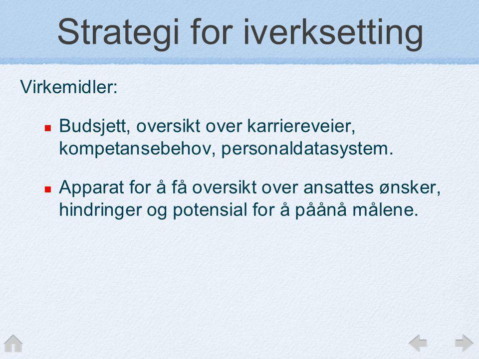 Strategi for iverksetting Virkemidler:  Budsjett, oversikt over karriereveier, kompetansebehov, personaldatasystem.  Apparat for å få oversikt over