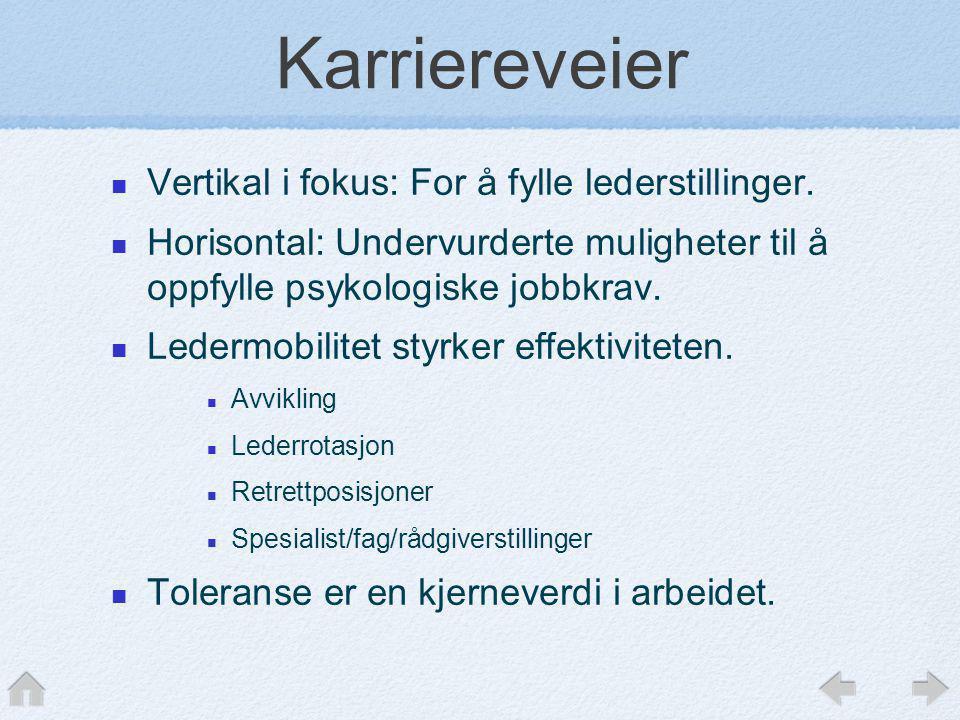 Karriereveier  Vertikal i fokus: For å fylle lederstillinger.  Horisontal: Undervurderte muligheter til å oppfylle psykologiske jobbkrav.  Ledermob