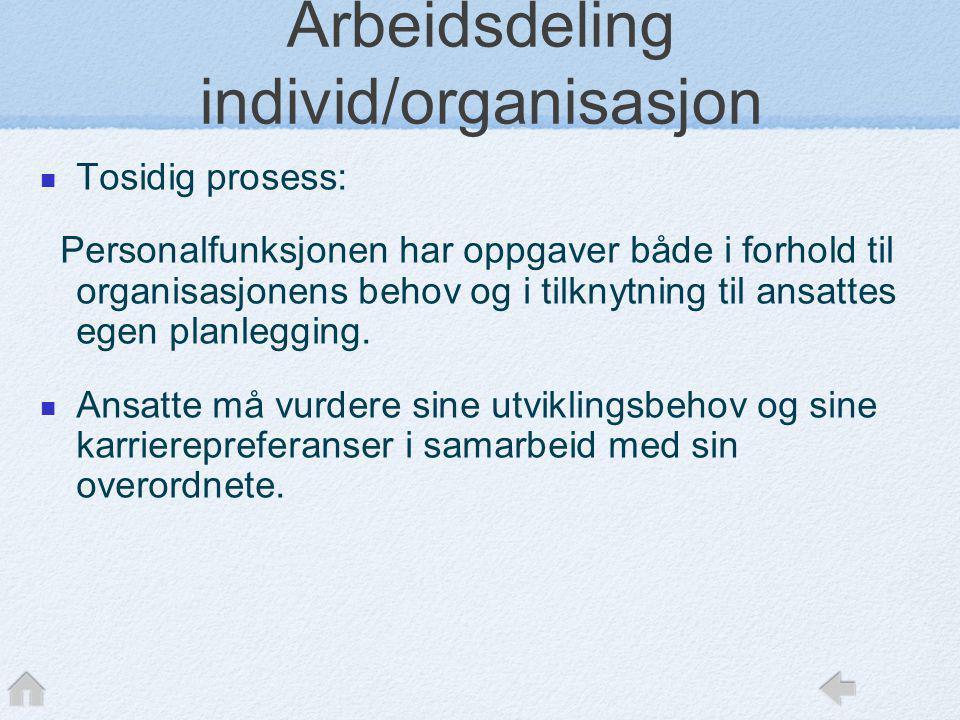 Arbeidsdeling individ/organisasjon  Tosidig prosess: Personalfunksjonen har oppgaver både i forhold til organisasjonens behov og i tilknytning til an