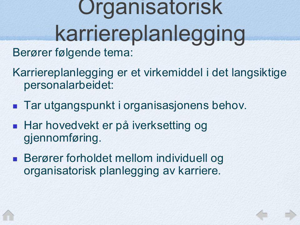 Organisatorisk karriereplanlegging Berører følgende tema: Karriereplanlegging er et virkemiddel i det langsiktige personalarbeidet:  Tar utgangspunkt