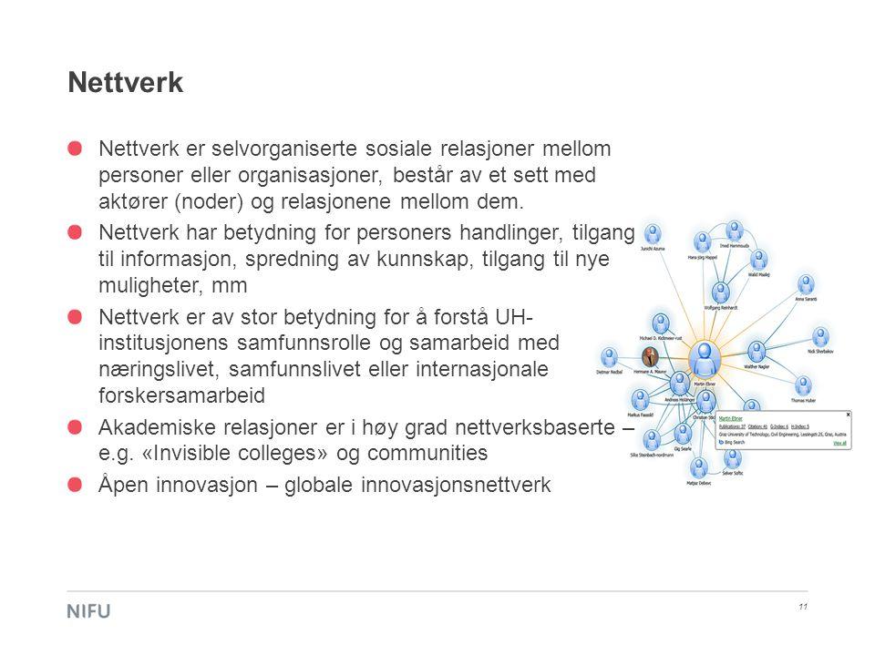 Nettverk 11 Nettverk er selvorganiserte sosiale relasjoner mellom personer eller organisasjoner, består av et sett med aktører (noder) og relasjonene