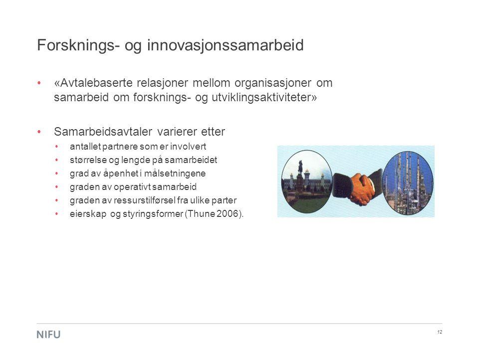 Forsknings- og innovasjonssamarbeid 12 •«Avtalebaserte relasjoner mellom organisasjoner om samarbeid om forsknings- og utviklingsaktiviteter» •Samarbe