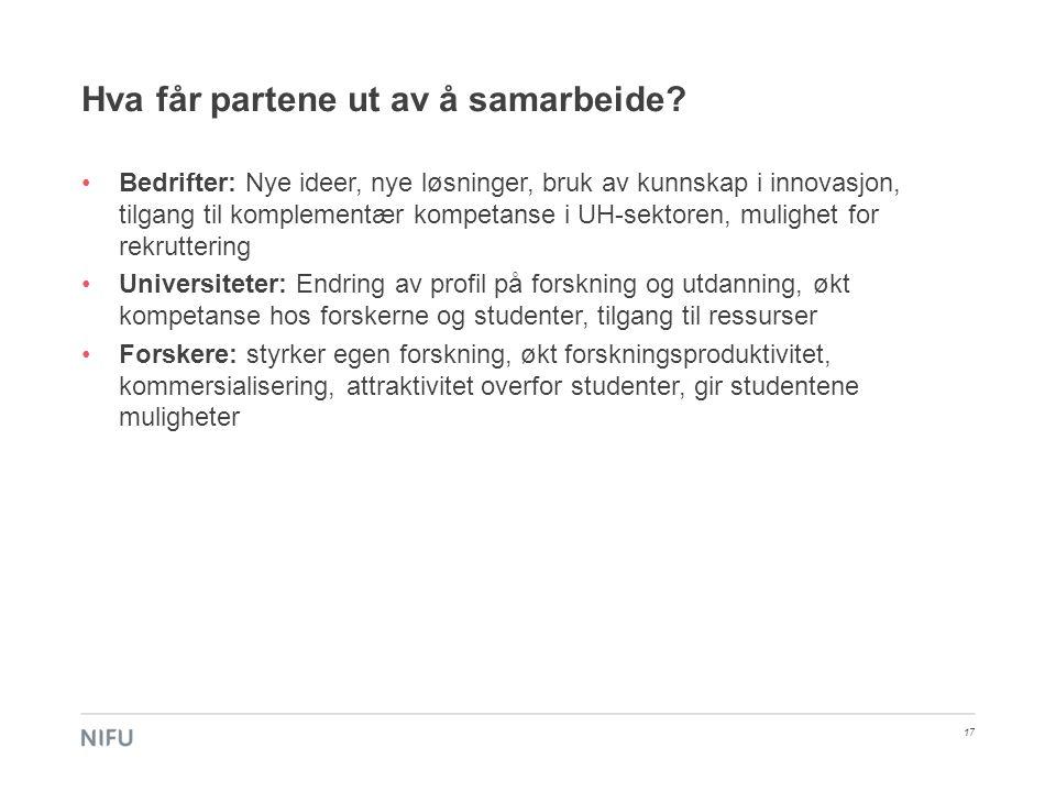 Hva får partene ut av å samarbeide? •Bedrifter: Nye ideer, nye løsninger, bruk av kunnskap i innovasjon, tilgang til komplementær kompetanse i UH-sekt