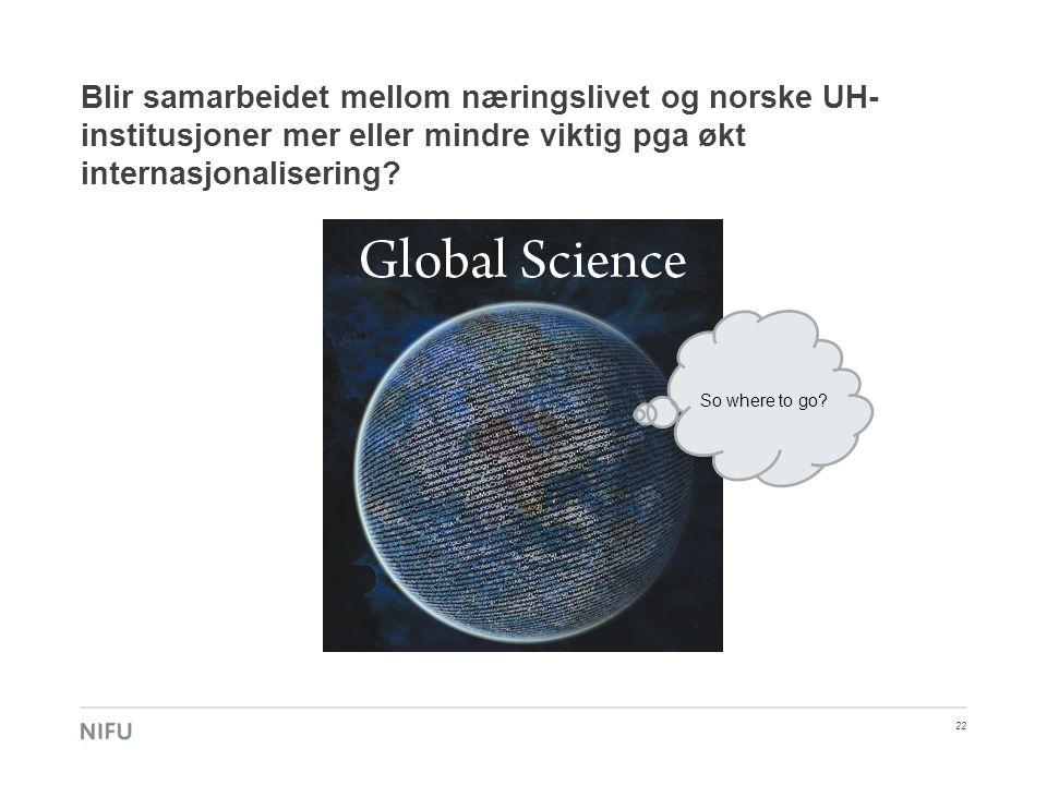 Blir samarbeidet mellom næringslivet og norske UH- institusjoner mer eller mindre viktig pga økt internasjonalisering? 22 So where to go?