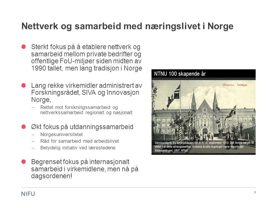Nettverk og samarbeid med næringslivet i Norge 6 Sterkt fokus på å etablere nettverk og samarbeid mellom private bedrifter og offentlige FoU-miljøer s