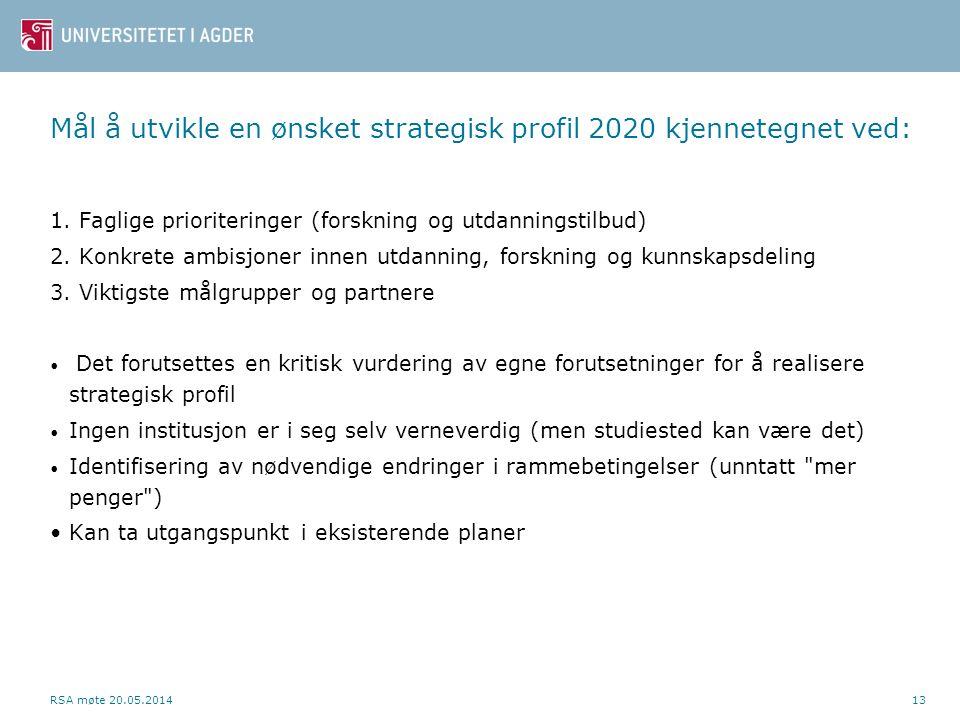 Mål å utvikle en ønsket strategisk profil 2020 kjennetegnet ved: 1. Faglige prioriteringer (forskning og utdanningstilbud) 2. Konkrete ambisjoner inne