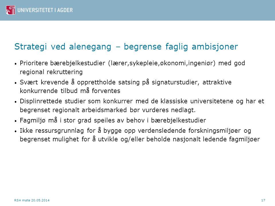 Strategi ved alenegang – begrense faglig ambisjoner • Prioritere bærebjelkestudier (lærer,sykepleie,økonomi,ingeniør) med god regional rekruttering •