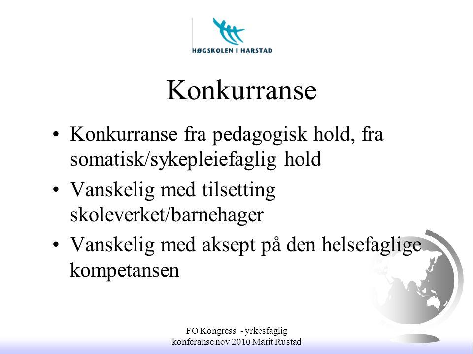 Konkurranse •Konkurranse fra pedagogisk hold, fra somatisk/sykepleiefaglig hold •Vanskelig med tilsetting skoleverket/barnehager •Vanskelig med aksept