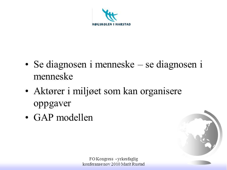 •Se diagnosen i menneske – se diagnosen i menneske •Aktører i miljøet som kan organisere oppgaver •GAP modellen FO Kongress - yrkesfaglig konferanse n