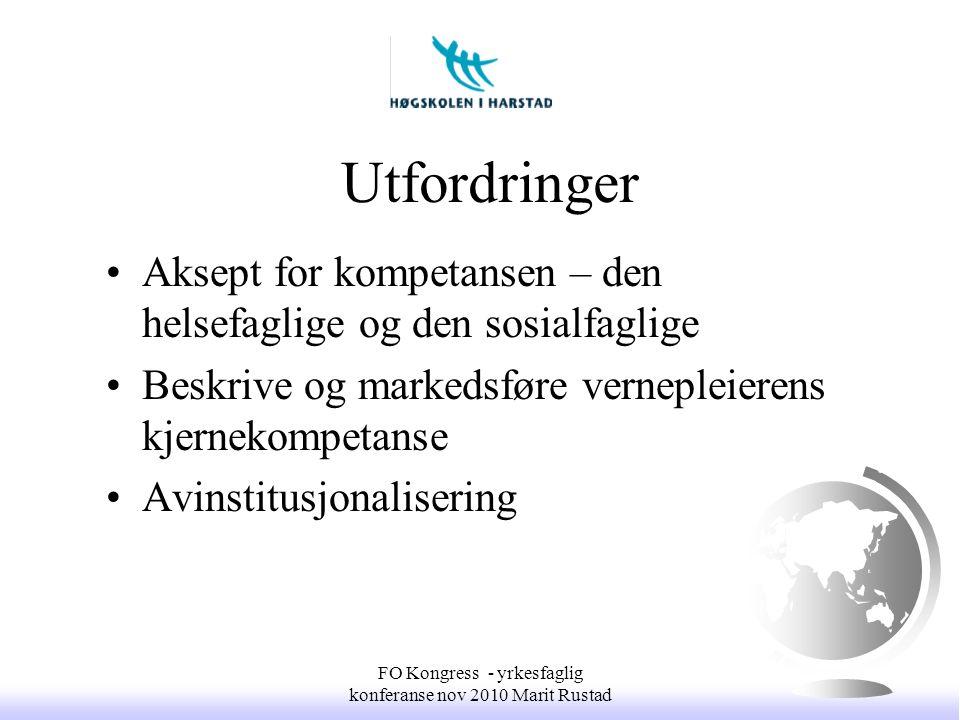 Utfordringer •Aksept for kompetansen – den helsefaglige og den sosialfaglige •Beskrive og markedsføre vernepleierens kjernekompetanse •Avinstitusjonal