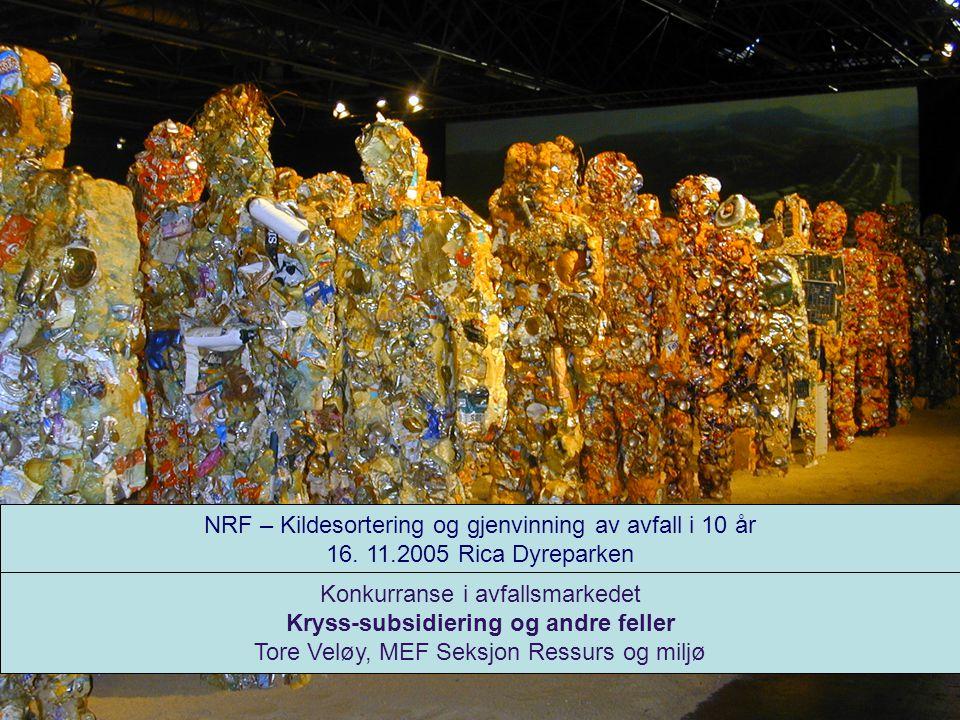 NRF – Kildesortering og gjenvinning av avfall i 10 år 16. 11.2005 Rica Dyreparken Konkurranse i avfallsmarkedet Kryss-subsidiering og andre feller Tor