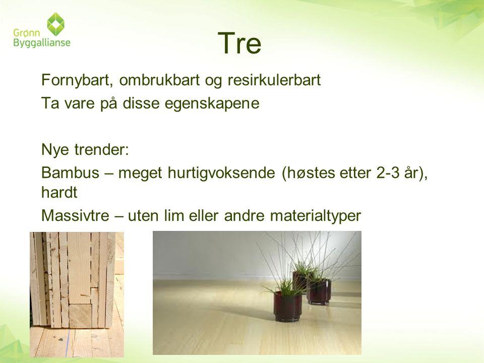 Tre Fornybart, ombrukbart og resirkulerbart Ta vare på disse egenskapene Nye trender: Bambus – meget hurtigvoksende (høstes etter 2-3 år), hardt Massi
