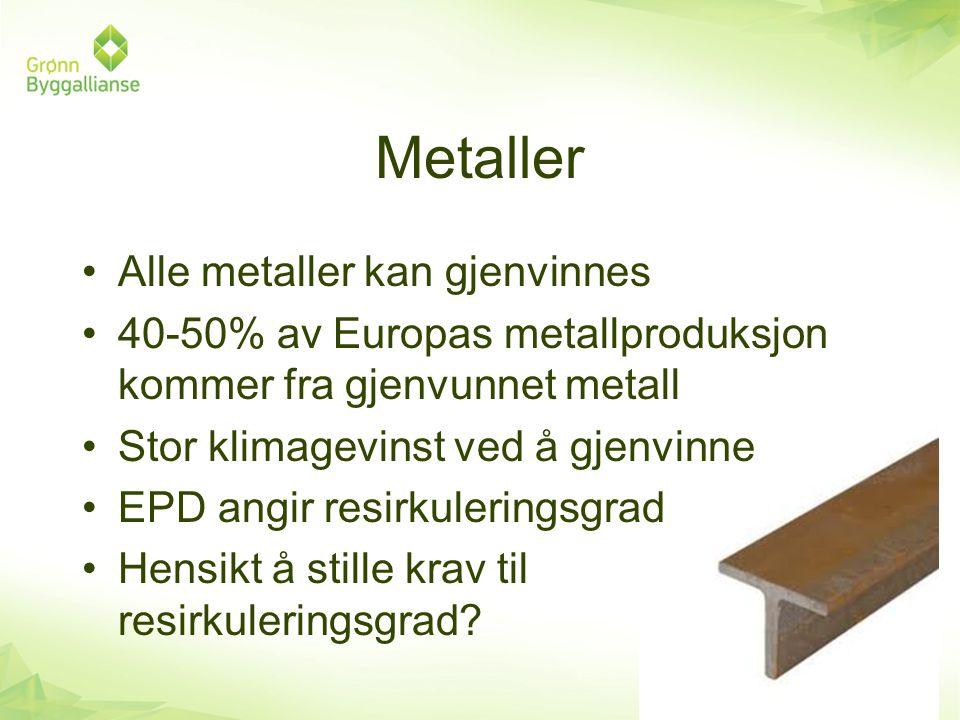 Metaller •Alle metaller kan gjenvinnes •40-50% av Europas metallproduksjon kommer fra gjenvunnet metall •Stor klimagevinst ved å gjenvinne •EPD angir