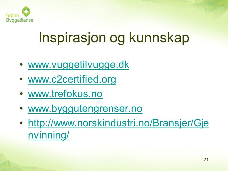 Inspirasjon og kunnskap •www.vuggetilvugge.dkwww.vuggetilvugge.dk •www.c2certified.orgwww.c2certified.org •www.trefokus.nowww.trefokus.no •www.byggute