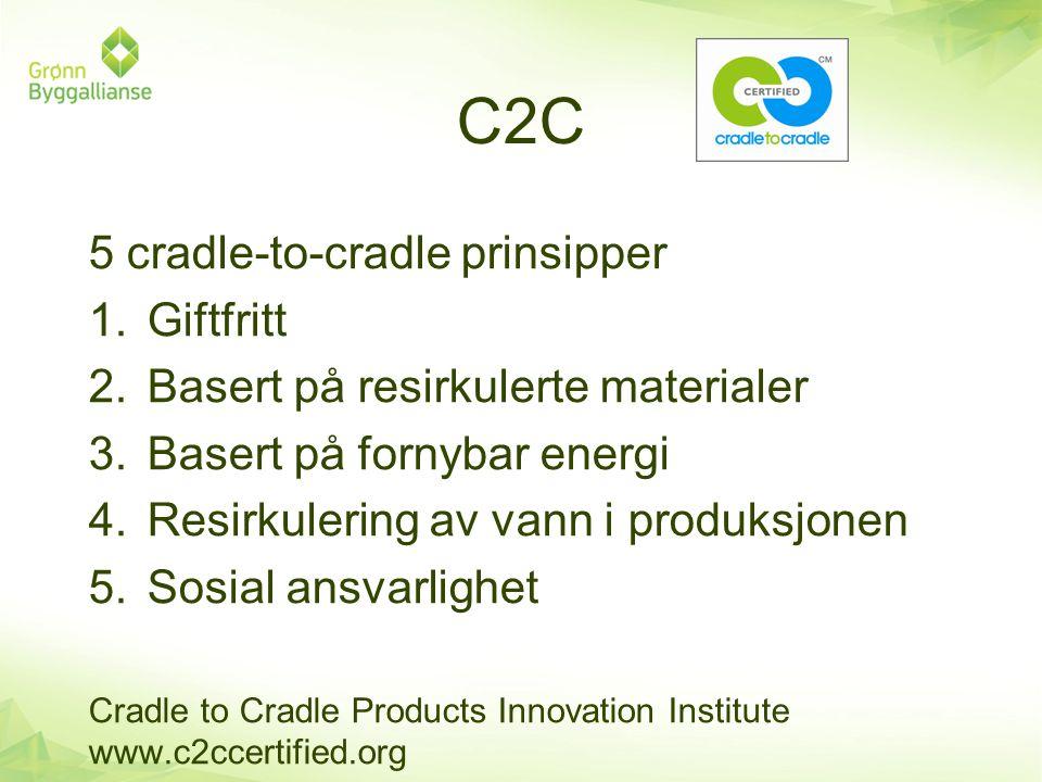 C2C 5 cradle-to-cradle prinsipper 1.Giftfritt 2.Basert på resirkulerte materialer 3.Basert på fornybar energi 4.Resirkulering av vann i produksjonen 5