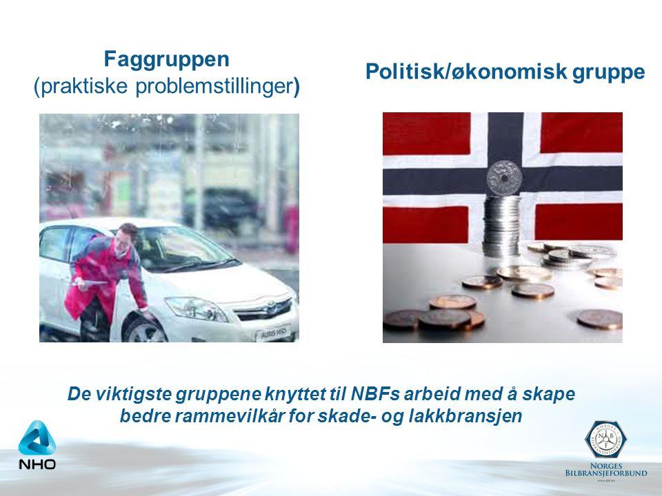 Faggruppen (praktiske problemstillinger) Politisk/økonomisk gruppe De viktigste gruppene knyttet til NBFs arbeid med å skape bedre rammevilkår for skade- og lakkbransjen
