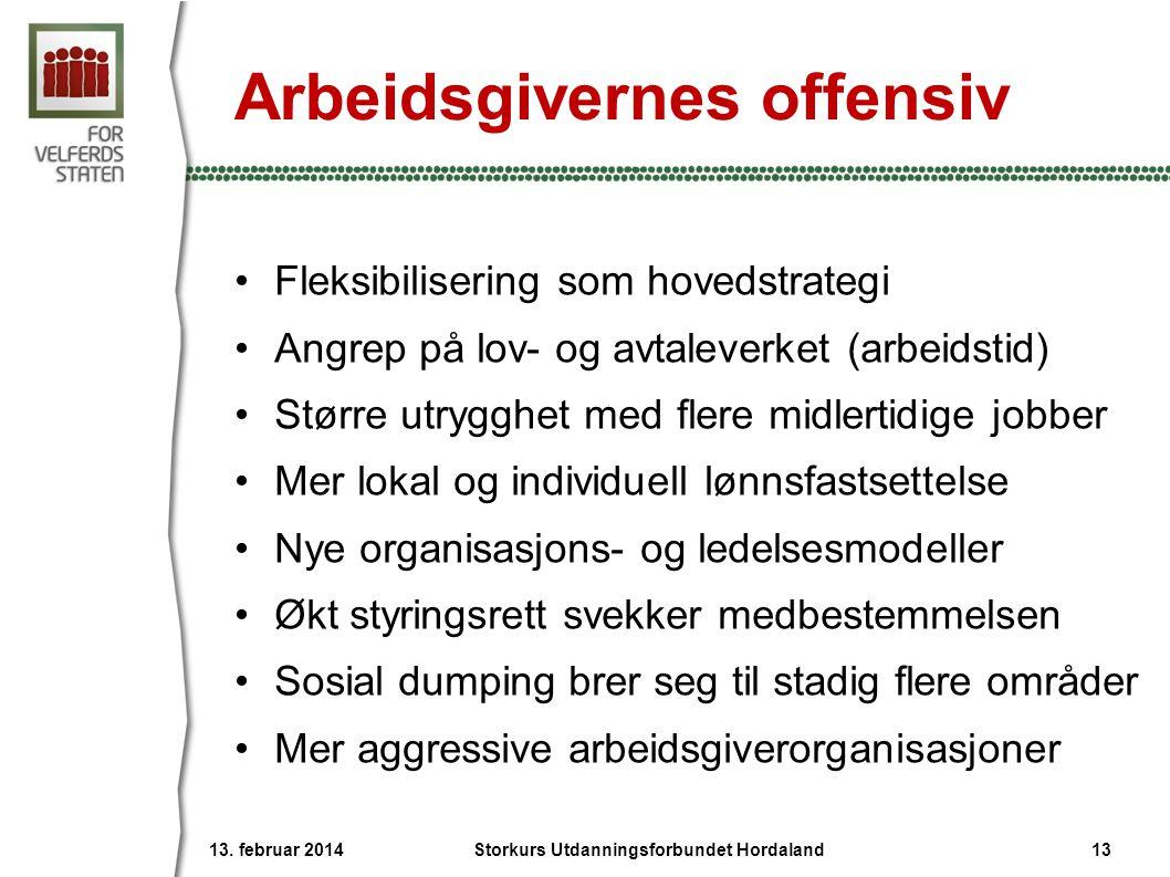 Arbeidsgivernes offensiv •Fleksibilisering som hovedstrategi •Angrep på lov- og avtaleverket (arbeidstid) •Større utrygghet med flere midlertidige job