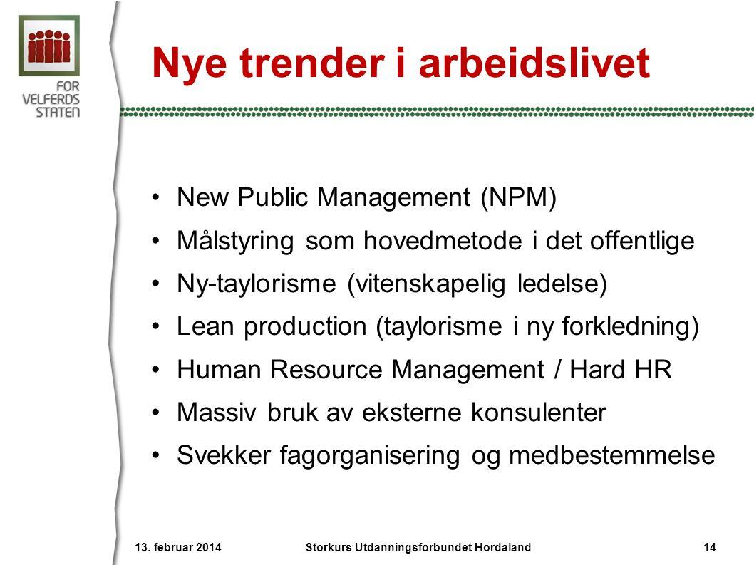 Nye trender i arbeidslivet •New Public Management (NPM) •Målstyring som hovedmetode i det offentlige •Ny-taylorisme (vitenskapelig ledelse) •Lean prod