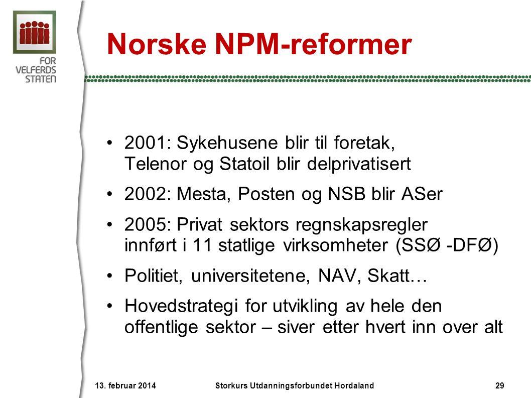 Norske NPM-reformer •2001: Sykehusene blir til foretak, Telenor og Statoil blir delprivatisert •2002: Mesta, Posten og NSB blir ASer •2005: Privat sek