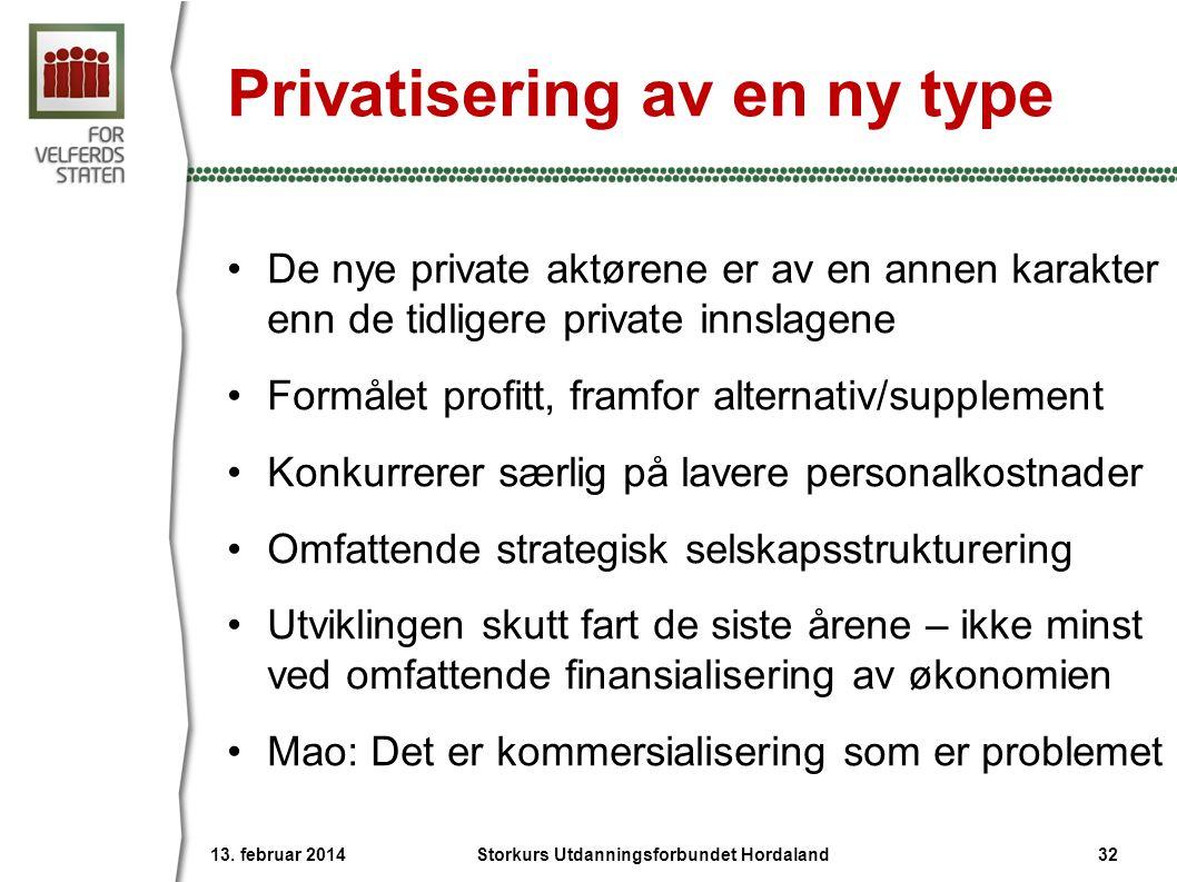 Privatisering av en ny type •De nye private aktørene er av en annen karakter enn de tidligere private innslagene •Formålet profitt, framfor alternativ