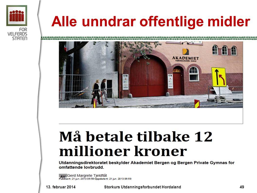 Alle unndrar offentlige midler 13. februar 2014 49Storkurs Utdanningsforbundet Hordaland