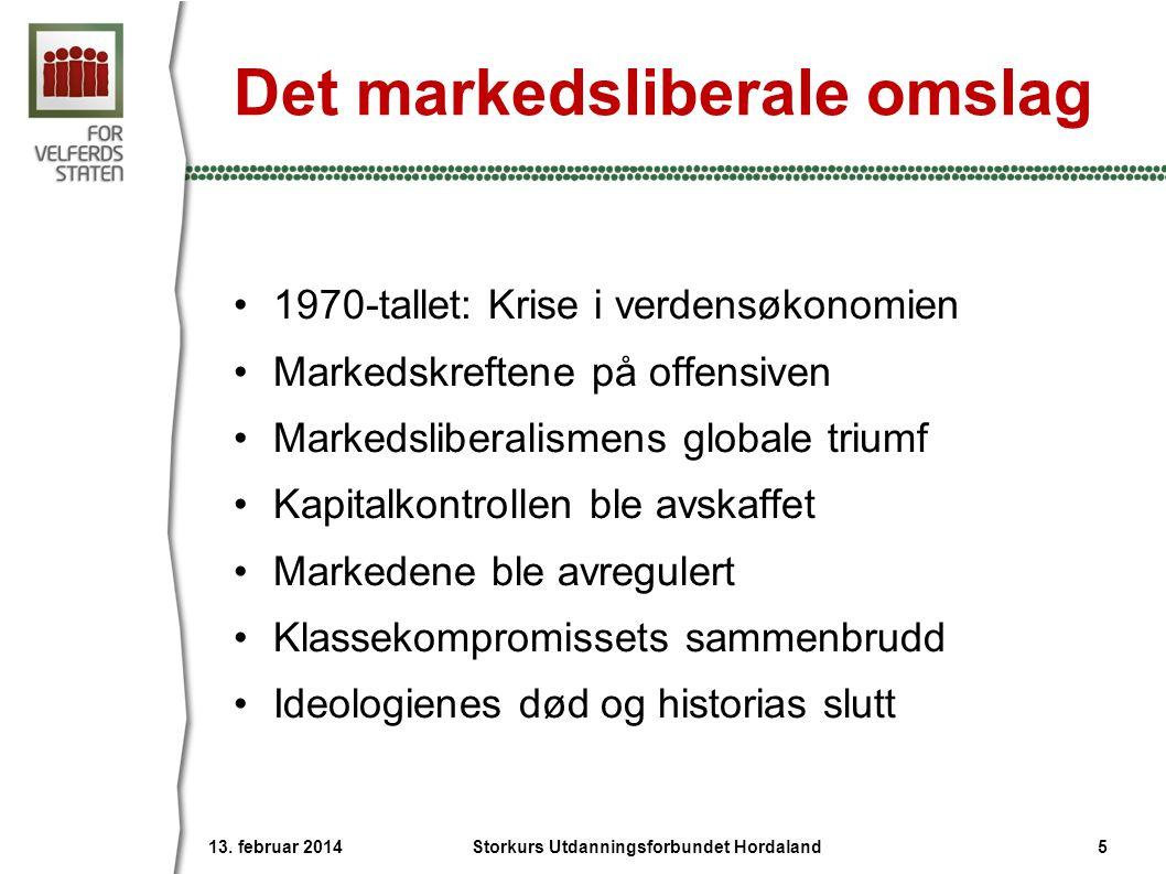 Det markedsliberale omslag •1970-tallet: Krise i verdensøkonomien •Markedskreftene på offensiven •Markedsliberalismens globale triumf •Kapitalkontroll