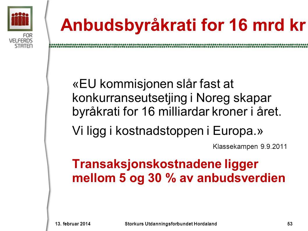 Anbudsbyråkrati for 16 mrd kr «EU kommisjonen slår fast at konkurranseutsetjing i Noreg skapar byråkrati for 16 milliardar kroner i året. Vi ligg i ko