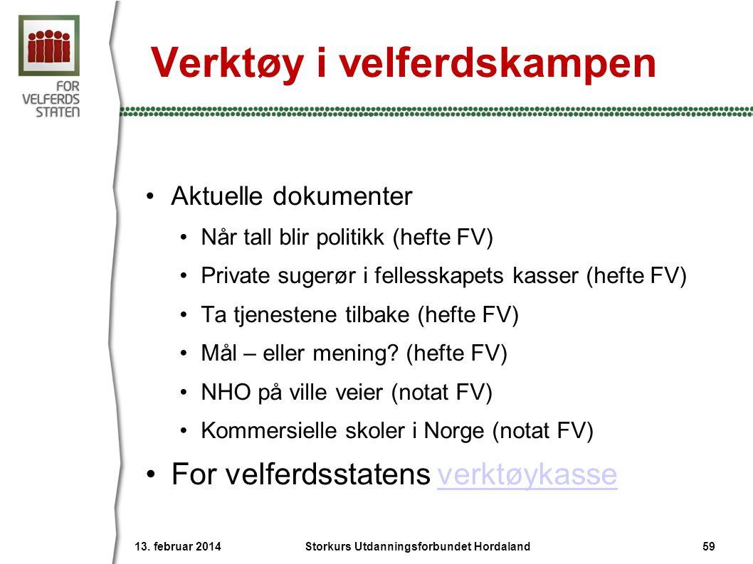 Verktøy i velferdskampen •Aktuelle dokumenter •Når tall blir politikk (hefte FV) •Private sugerør i fellesskapets kasser (hefte FV) •Ta tjenestene til