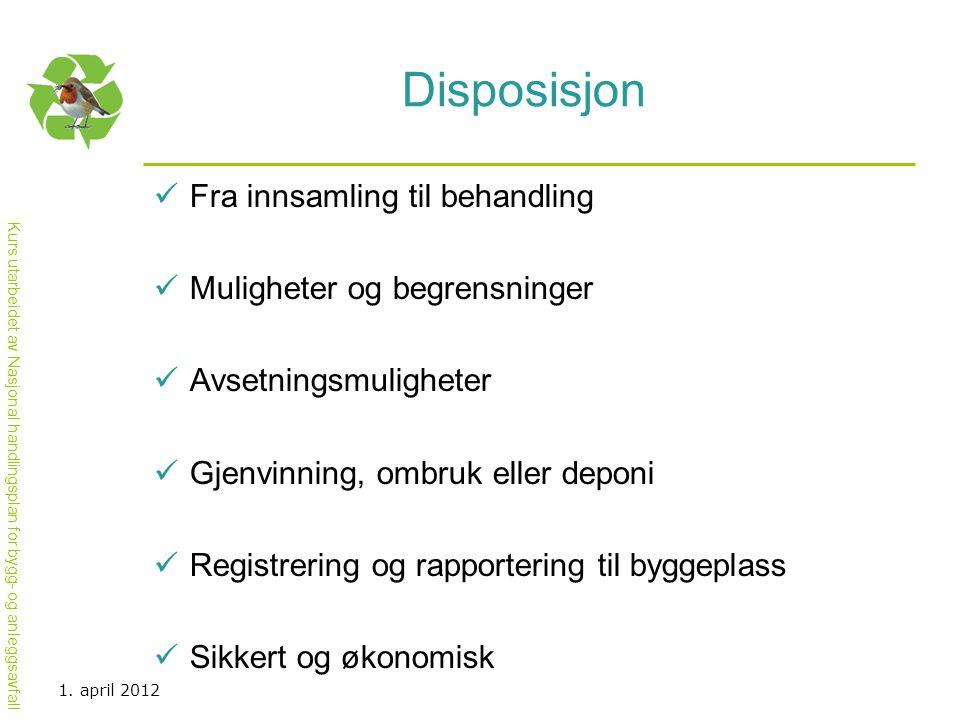 Kurs utarbeidet av Nasjonal handlingsplan for bygg- og anleggsavfall Disposisjon  Fra innsamling til behandling  Muligheter og begrensninger  Avset