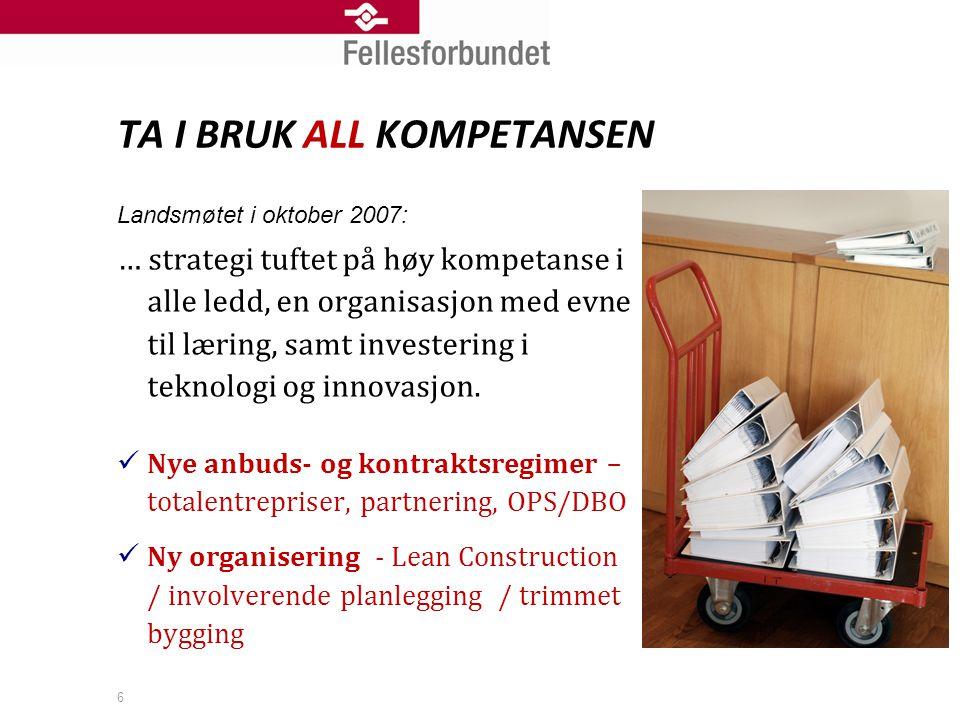 6 TA I BRUK ALL KOMPETANSEN Landsmøtet i oktober 2007: … strategi tuftet på høy kompetanse i alle ledd, en organisasjon med evne til læring, samt investering i teknologi og innovasjon.