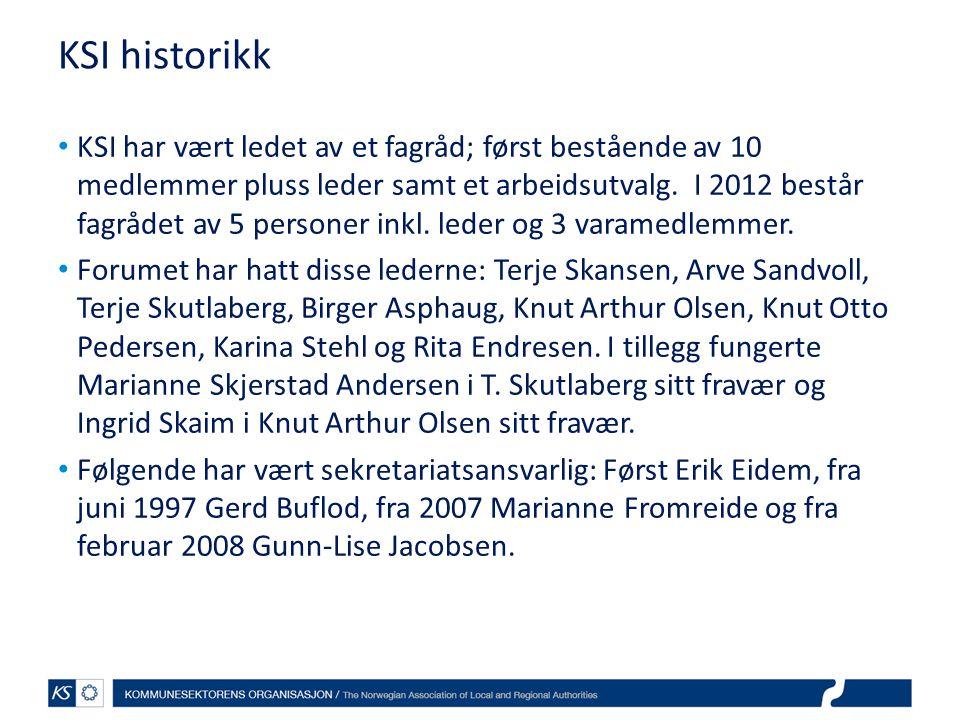 KSI historikk • KSI har vært ledet av et fagråd; først bestående av 10 medlemmer pluss leder samt et arbeidsutvalg. I 2012 består fagrådet av 5 person