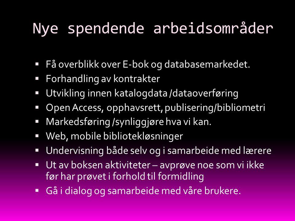 Nye spendende arbeidsområder  Få overblikk over E-bok og databasemarkedet.