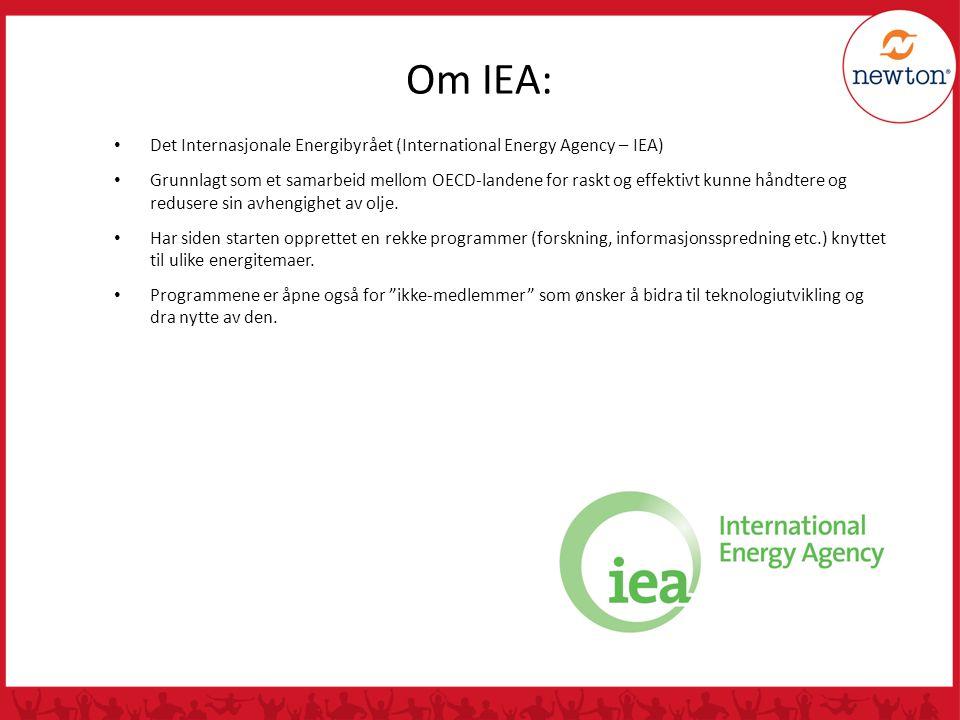 • Det Internasjonale Energibyrået (International Energy Agency – IEA) • Grunnlagt som et samarbeid mellom OECD-landene for raskt og effektivt kunne hå