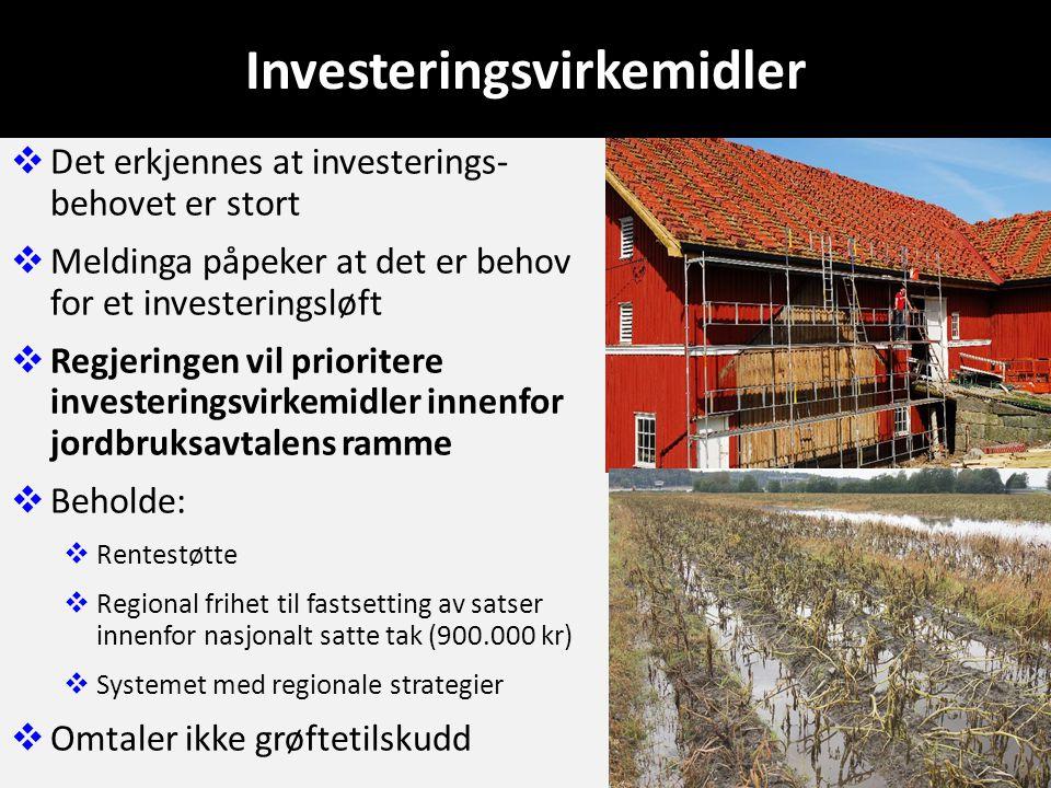 Investeringsvirkemidler  Det erkjennes at investerings- behovet er stort  Meldinga påpeker at det er behov for et investeringsløft  Regjeringen vil